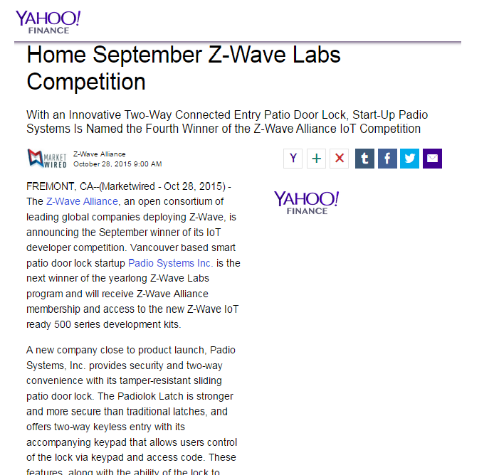 Padiolok wins Z-Wave Contest and Featured in Yahoo Finance